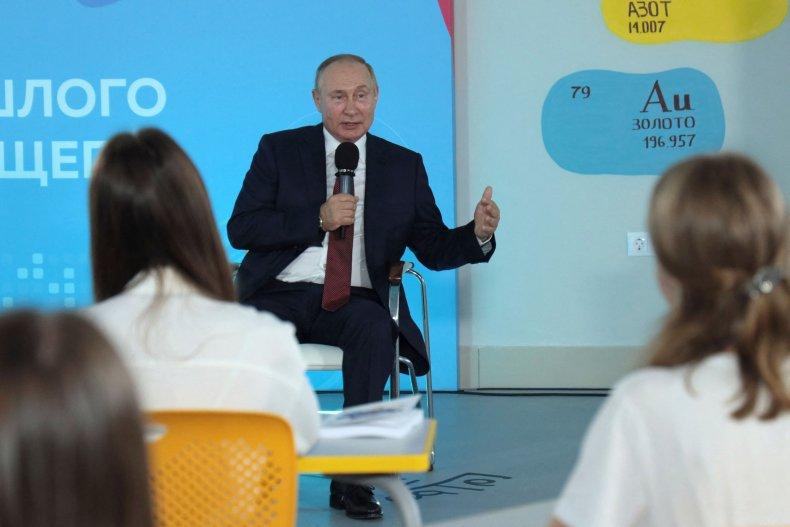 Vladimir Putin speaks to students