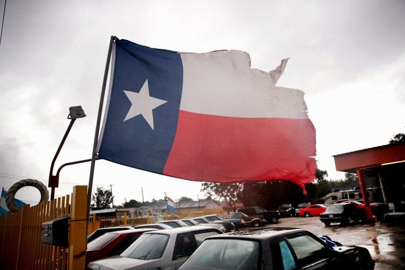 A Texas Flag Blows in Hurricane Harvey
