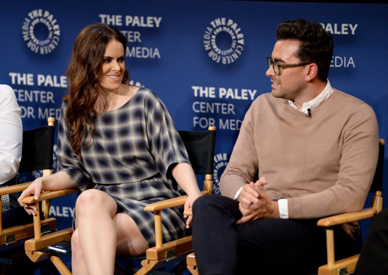 Emily Hampshire and Dan Levy