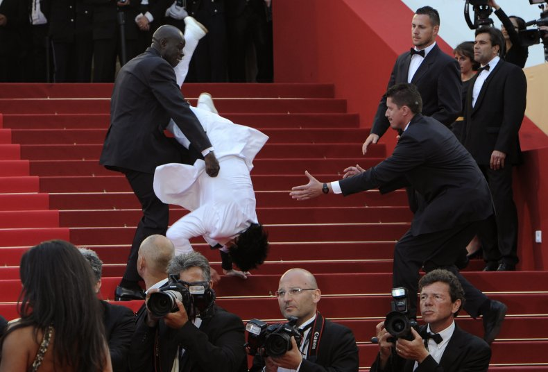 Man falls down the stairs at Cannes
