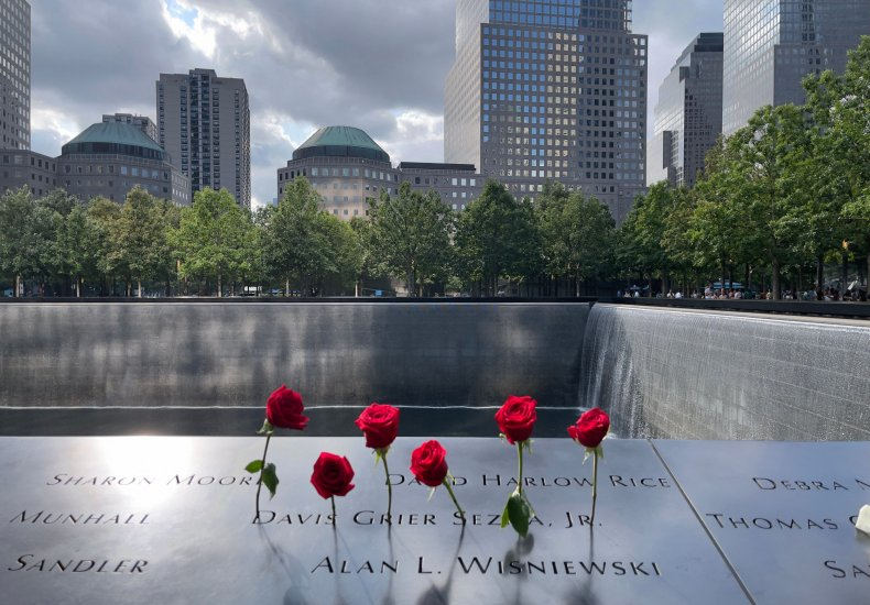 Roses are left in memory of 9/11