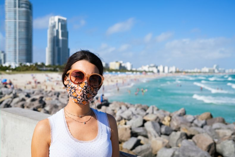 Woman with face mask in Florida