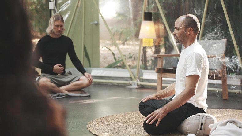 Gary Gorrow leads meditation class