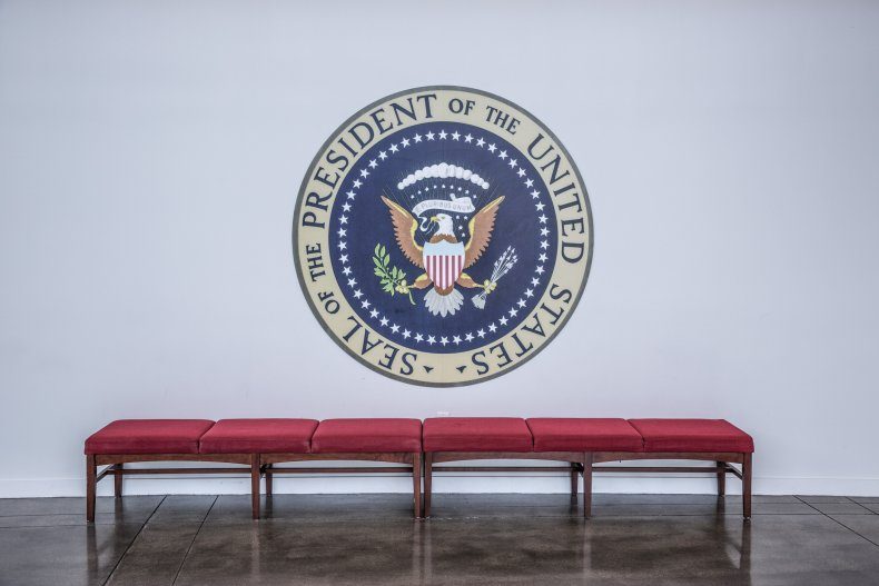 The presidential seal adorns a wall
