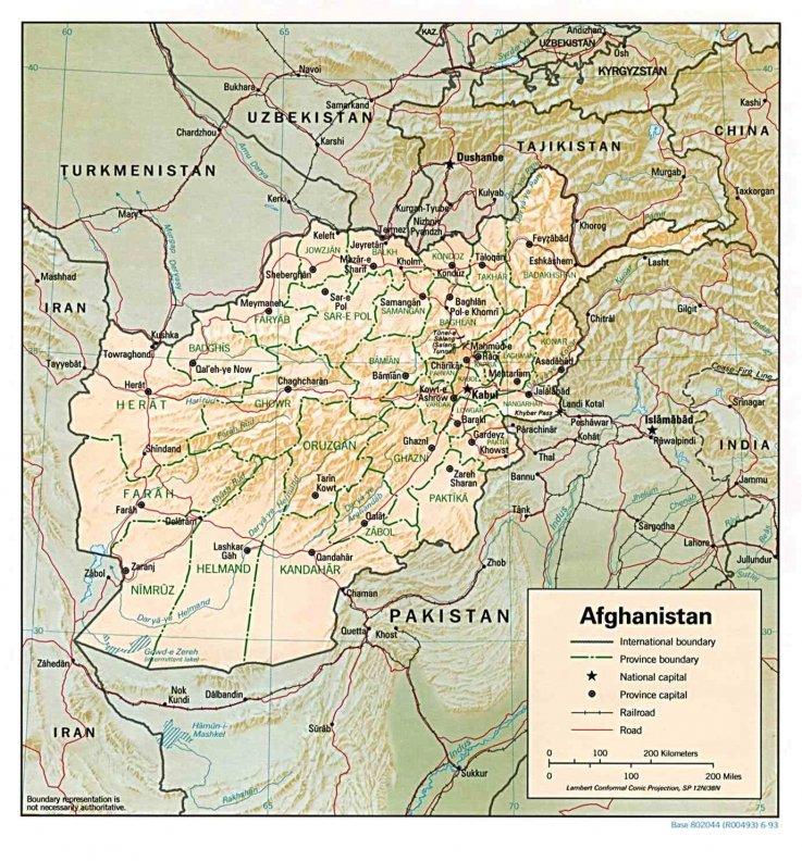 Afghanistan, world, map