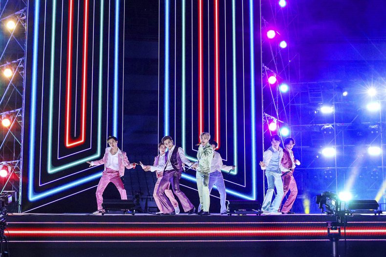 BTS performing for 2020 American Music Awards.