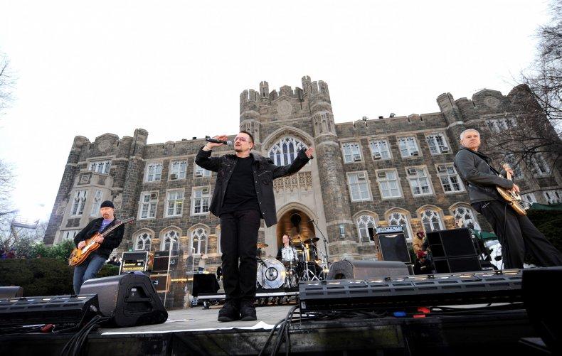 U2 perform at Fordham University