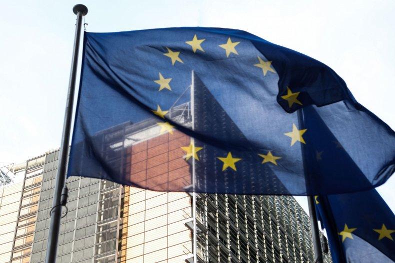 The European flag waves