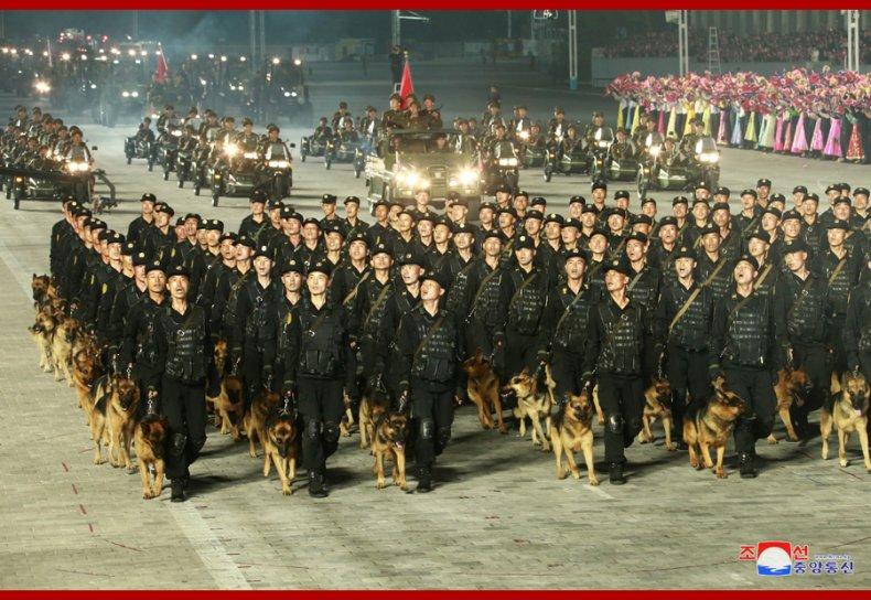 North, Korea, military, search, dog, column, parade
