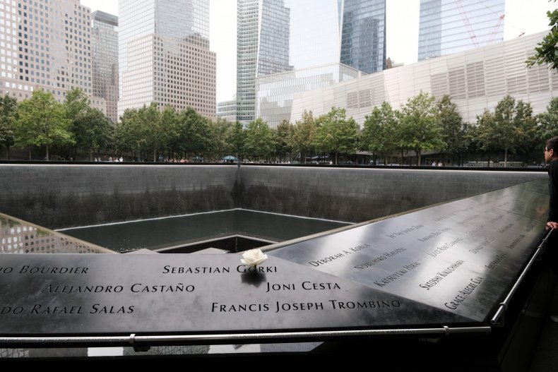 Flowers are placed at the 9/11 Memorial