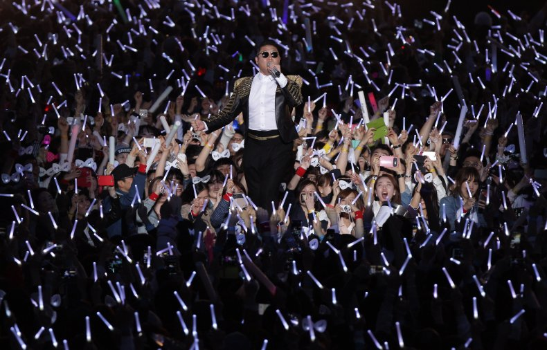 Psy performs at Seoul Olympic Stadium