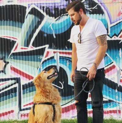 Dustin Moody and Indie the dog