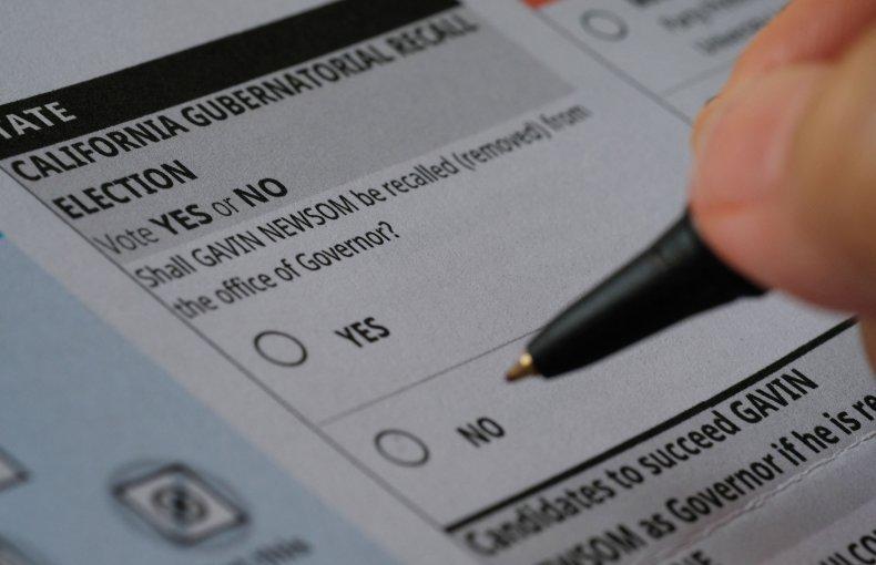 Ballot paper for California recall election