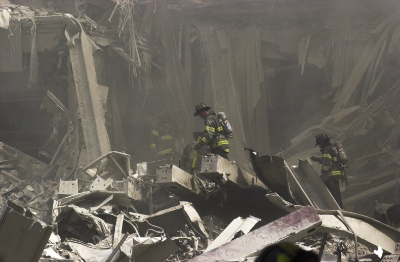 Firefighters search for survivors on 9/11