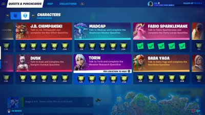 Fortnite Character Punchcards