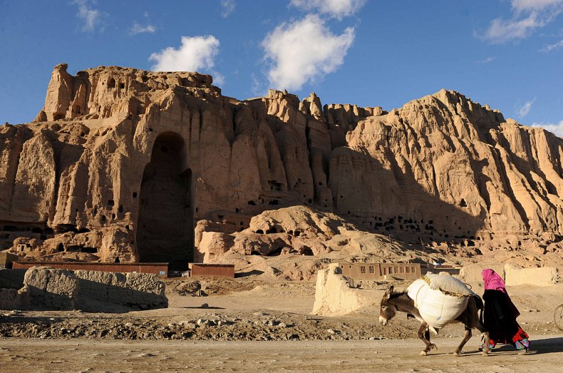 An Afghan woman leads her donkey