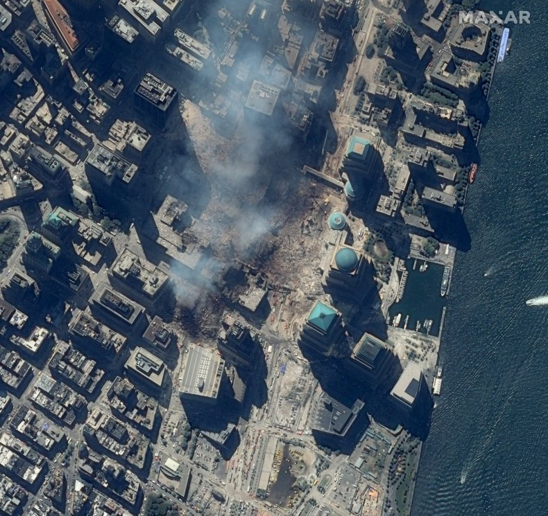 Aerial shot of New York after 9/11.