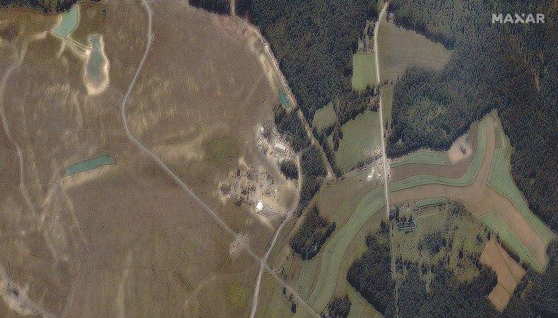 Aerial shot of crash site after 9/11.