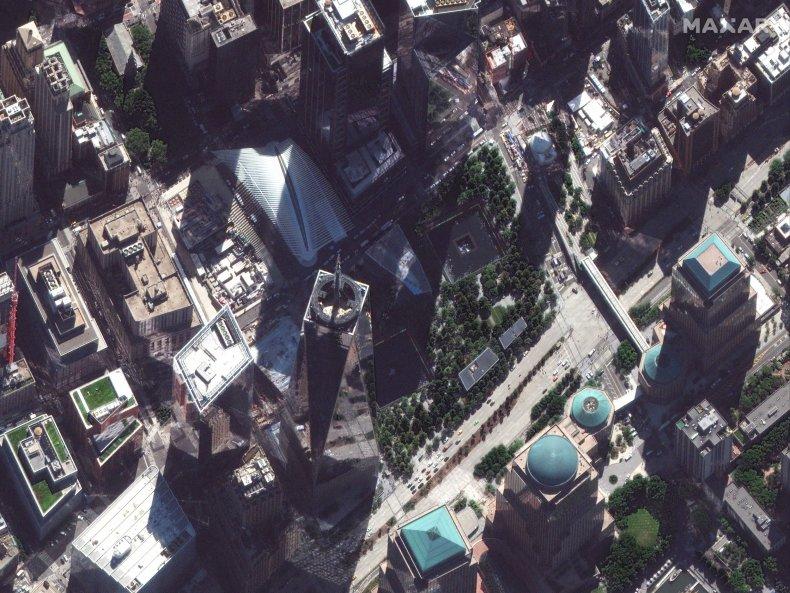 Aerial shot of 9/11 memorial.
