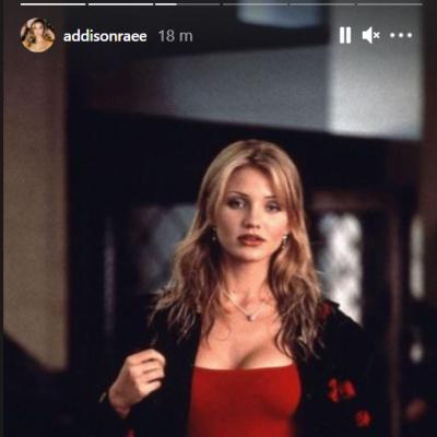 Addison Raes Instagram story of Cameron Diaz