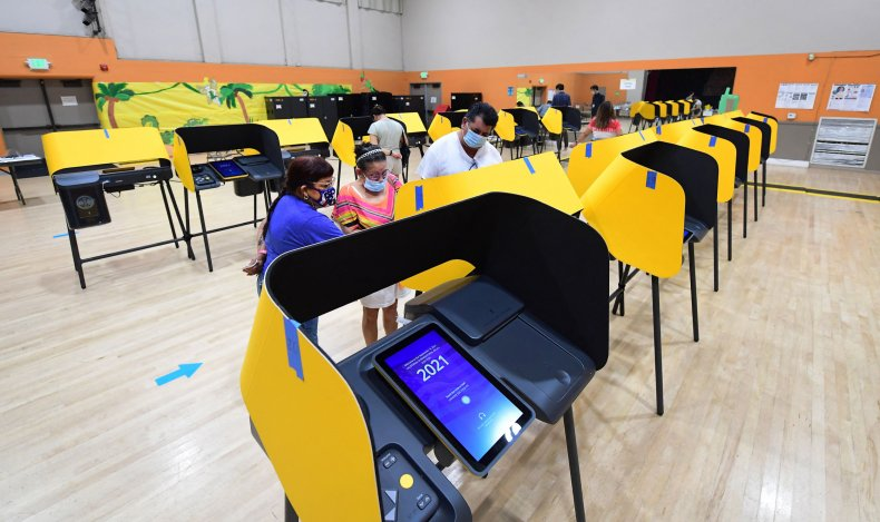 Voters casting ballots in California recall election.
