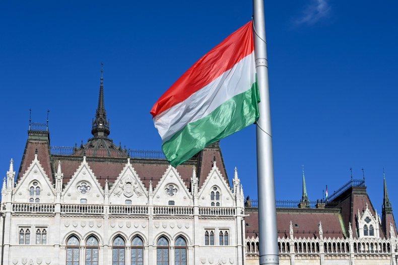A Hungarian national flag