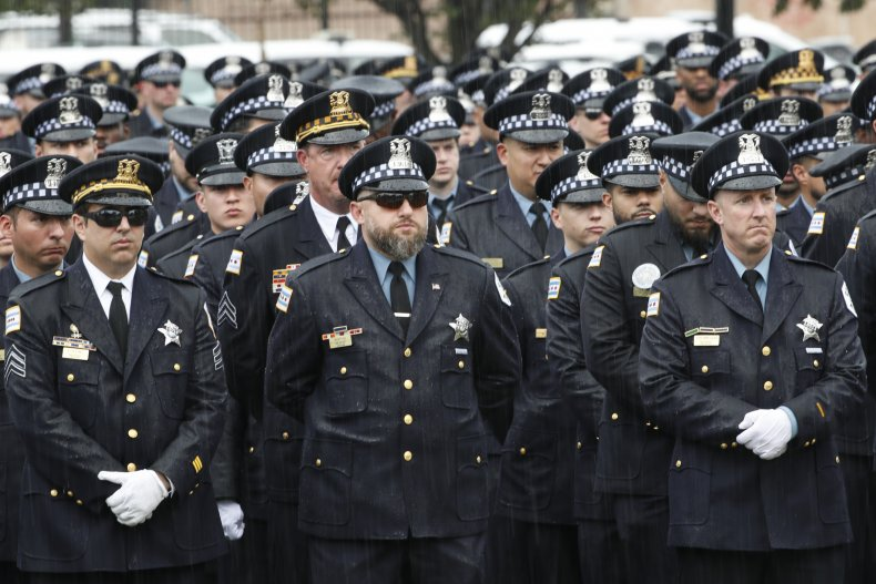 Hundreds of policemen from various departments attend