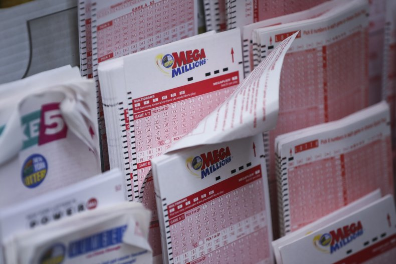 Mega Millions lottery tickets in NYC.