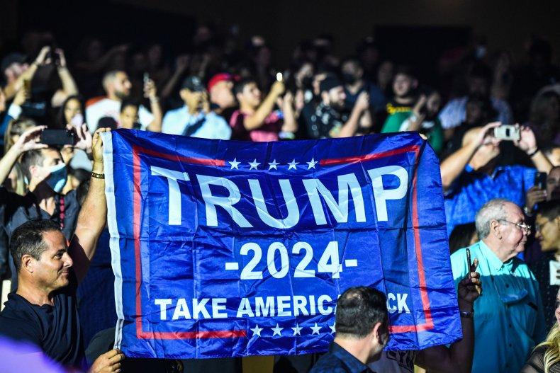 A Trump 2024 flag.