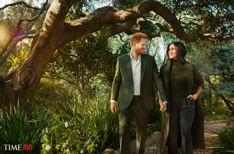 Harry and Meghan pose for the Time Shoot
