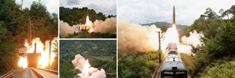 North, Korea, railway, train, missile, launch
