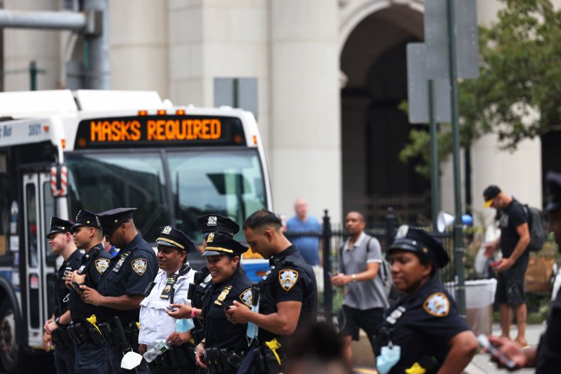 NYPD officers guard protest