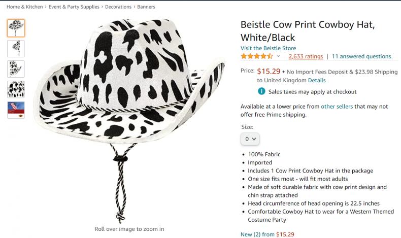 Beistle cow print cowboy hat
