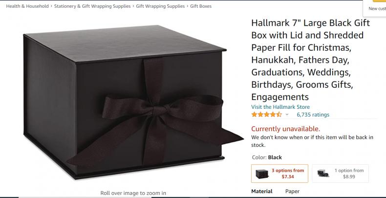 Hallmark 7 '' big black gift box.