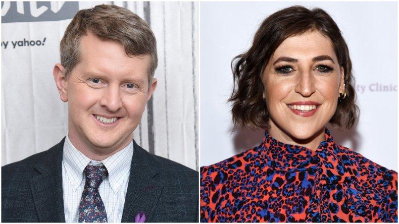 """Jeopardy!"" hosts Ken Jennings and Mayim Bialik"
