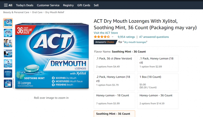 ACT dry mouth lozenges.