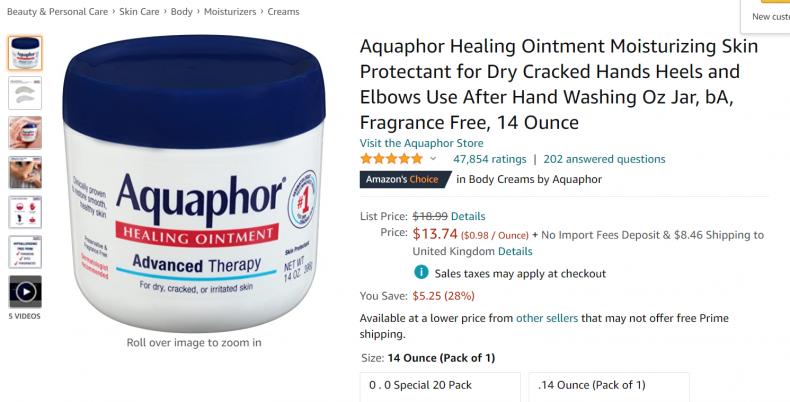 Aquafor Moisturizing Skin Protector.