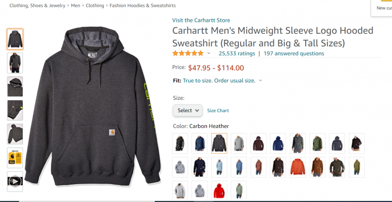 Carheart Men's Midweight Sleeve Logo Hooded Sweet Shirt.