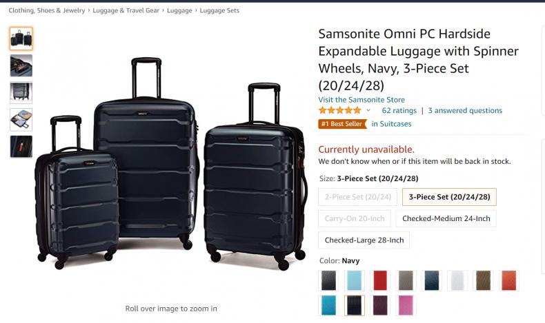 Samsonite Omni PC Hard Side Expandable Equipment.