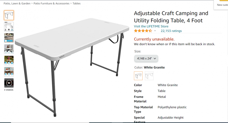 Adjustable craft camping and utility folding table.