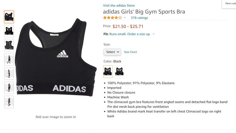 Adidas girls big gym sports bra