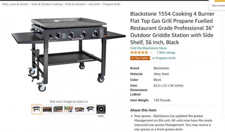 Blackstone 4 burner flat gas grill.