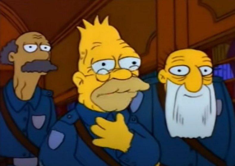 Screenragb of Abe Simpson.