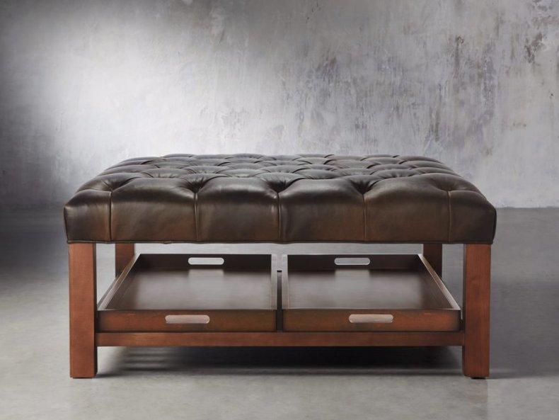 Arhaus Butler Leather Tufted Ottoman