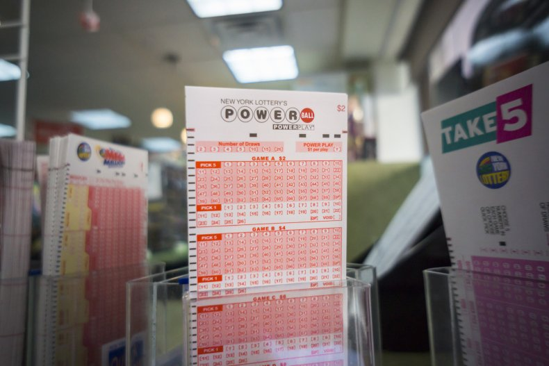 Powerball slips on a convenience store shelf.