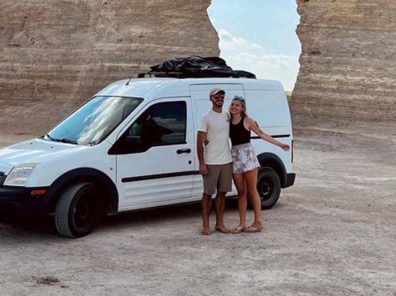 Brian Laundrie and Gabby Petito with van.
