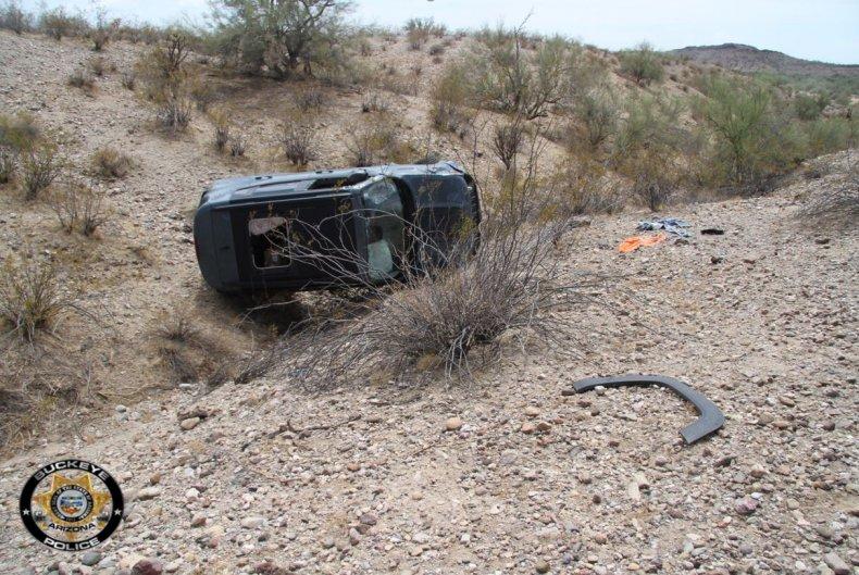 Daniel Robinson's crashed Jeep.