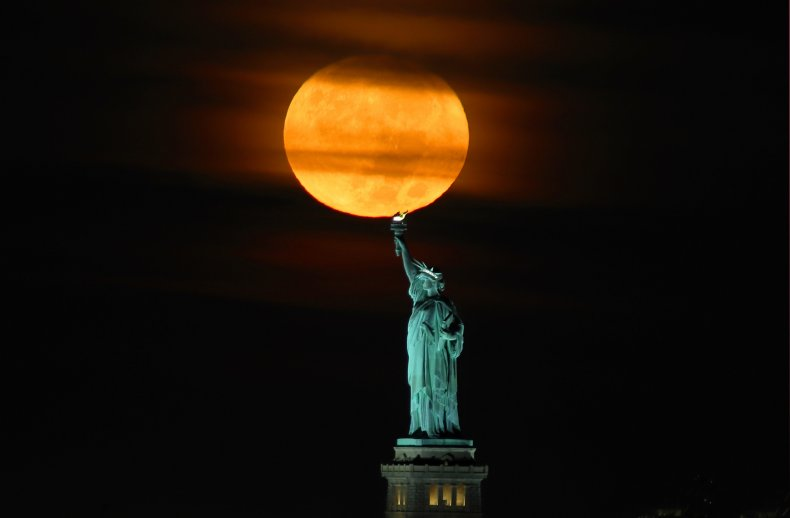 A Harvest Moon above New York City