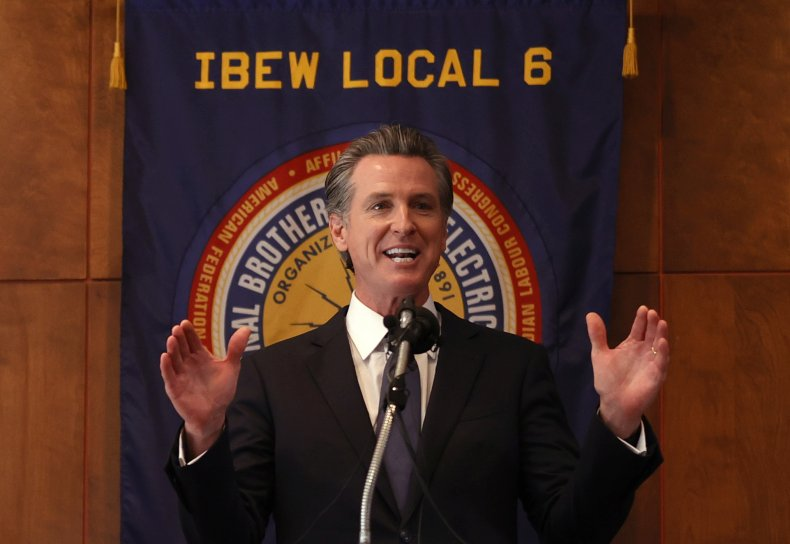 California Governor Gavin Newsom speaks
