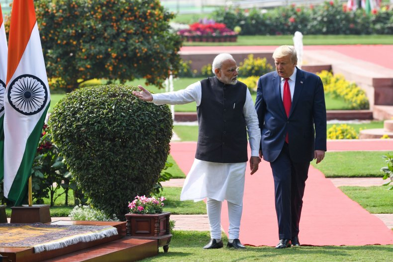 US President Donald Trump (R) and India's